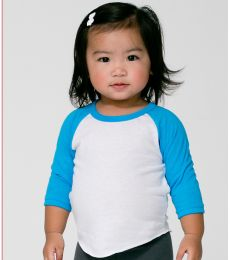 BB053 American Apparel Infant Poly-Cotton 3/4 Sleeve Raglan