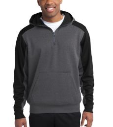 Sport Tek ST249 Sport-Tek  Tech Fleece Colorblock 1/4-Zip Hooded Sweatshirt