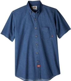 WS300 Dickies Short Sleeve Button Down Denim Shirt