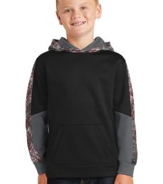 Sport Tek YST231 Sport-Tek Youth Sport-Wick Mineral Freeze Fleece Colorblock Hooded Pullover