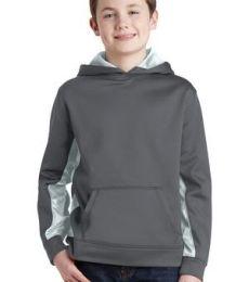 Sport Tek YST239 Sport-Tek Youth Sport-Wick CamoHex Fleece Colorblock Hooded Pullover