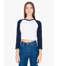 American Apparel RSABB354W Ladies' Poly-Cotton 3/4-Sleeve Cropped T-Shirt