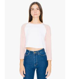 American Apparel RSABB354W Ladies' Poly-Cotton 3/4-Sleeve Cropped T-Shirt