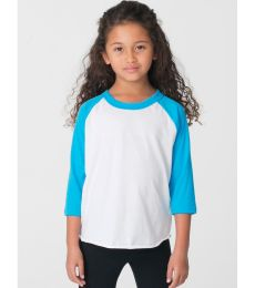 a20024030 American Apparel BB153W Toddler Poly-Cotton 3/4-Sleeve T-Shirt