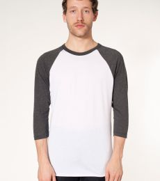 BB453 American Apparel Unisex Poly Cotton 3/4 Sleeve Raglan