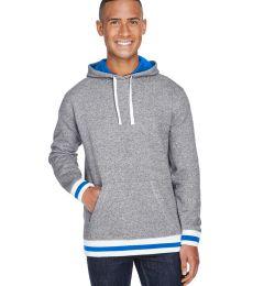 J America 8701 Peppered Fleece Lapover Hooded Pullover