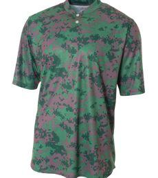 N3263 A4 Drop Ship Camo 2-Button Henley Shirt