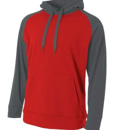 N4234 A4 Drop Ship Men's Color Block Tech Fleece Hoodie