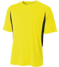 NB3181 A4 Drop Ship Youth Cooling Performance Color Blocked Shorts Sleeve Crew Shirt