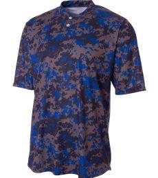NB3263 A4 Drop Ship Youth Camo 2-Button Henley Shirt