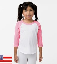 Los Angeles Apparel FF2053 / Youth 3/4 Sleeve Raglan
