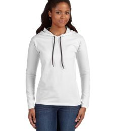 887L Anvil Ladies' Ringspun Long-Sleeve Hooded T-Shirt