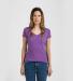0244TC Tultex 244/Ladies' Poly-Rich Blend V-Neck T Heather Purple