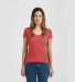 0244TC Tultex 244/Ladies' Poly-Rich Blend V-Neck T Heather Red