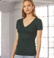 BELLA 8435 Womens Fitted Tri-blend Deep V T-shirt
