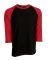 Tultex 0245TC Unisex Fine Jersey Raglan Tee Black/Red *New*
