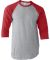 Tultex 0245TC Unisex Fine Jersey Raglan Tee Heather Grey/Heather Red