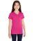 LAT 2607 Girls' V-Neck Fine Jersey T-Shirt HOT PINK