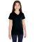 LAT 2607 Girls' V-Neck Fine Jersey T-Shirt BLACK