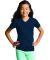 LAT 2607 Girls' V-Neck Fine Jersey T-Shirt NAVY