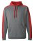 8973 J America Poly Fleece Sport Hood Steel/ Red