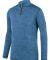 Augusta Sportswear 2955 Intensify Black Heather Quarter-Zip Pullover Columbia Blue