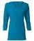 J. America - Ladies' ¾ Sleeve Hooded Slub Tee - 8153 Oceanberry