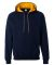 185C00 Gildan Adult Heavy BlendContrast Hooded Sweatshirt NAVY/ GOLD