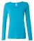 399 ANVIL LADIES SCOOP NECK L/S T Caribbean Blue