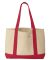 8869 UltraClub® Cotton Canvas Boat Tote NATURAL/ RED