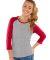 L3630 LA T Junior 3/4 Sleeve Baseball T-Shirt VIN HTR/ VIN RED