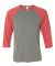 BELLA+CANVAS 3200 Unisex Baseball Tee GREY/ LT RED TRB