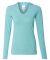 J America 8263 Ladies' Twisted Slub Jersey Hooded Pullover T-Shirt Maui Blue