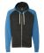 8874 J. America - Triblend Raglan Full-Zip Hooded Sweatshirt Black/ Royal Triblend