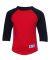 Champion T13Y Youth Raglan Baseball T-Shirt Scarlet/ Black