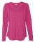 LAT 3761 Women's V-Neck French Terry Pullover HOT PINK