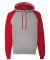 96CR JERZEES - Nublend® Colorblocked Hooded Pullover Sweatshirt Oxford/ True Red