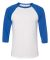 BELLA+CANVAS 3200 Unisex Baseball Tee WHITE/ TR ROYAL