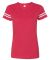 LAT 3537 Women's V-Neck Football Tee VN RED/ BLD WHT