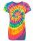 Dyenomite 150MS Women's 30s Ringspun Multi Pinwheel Tee Fluorescent Rainbow Spiral