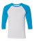 BELLA+CANVAS 3200 Unisex Baseball Tee WHITE/ NEON BLUE