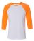 BELLA+CANVAS 3200 Unisex Baseball Tee WHT/ NEON ORANGE