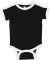 Rabbit Skins 4432 Infant Soccer Ringer Fine Jersey Bodysuit BLACK/WHITE