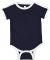 Rabbit Skins 4432 Infant Soccer Ringer Fine Jersey Bodysuit NAVY/ WHITE