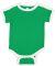Rabbit Skins 4432 Infant Soccer Ringer Fine Jersey Bodysuit VINTAGE GRN/ WHT