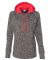 8616 J. America - Women's Cosmic Poly Contrast Hooded Pullover Sweatshirt Charcoal Fleck/ Fire Coral