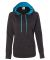 8616 J. America - Women's Cosmic Poly Contrast Hooded Pullover Sweatshirt Onyx Fleck/ Electric Blue