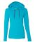 887L Anvil Ladies' Ringspun Long-Sleeve Hooded T-Shirt Caribbean Blue/ Dark Grey