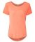 J America 8127 Women's Oasis Wash Drop Tail T-Shirt Fusion Coral
