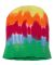 Dyenomite 870VR Tie-Dyed 12 Inch Knit Beanie Teardrop Stripe